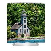 Lighthouse Munising Bay Shower Curtain