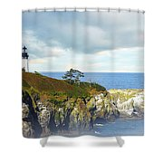 Lighthouse On A Jetty. Shower Curtain