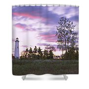 Lighthouse On A Landscape, Tawas Point Shower Curtain