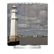 Lighthouse On A Sunny Day. Shower Curtain