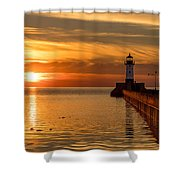 Lighthouse On Glass Shower Curtain