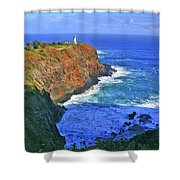 Lighthouse On The Hill Shower Curtain by Scott Mahon
