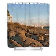 Lighthouse On The Ocean Shower Curtain