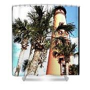 Lighthouse Palms Shower Curtain