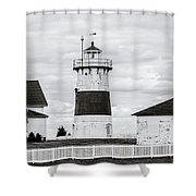 Lighthouse Point In Black And White #5 Shower Curtain
