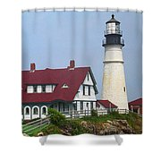Lighthouse - Portland Head Maine Shower Curtain