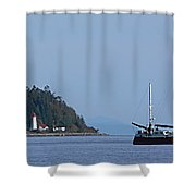 Lighthouse Sailing Vancouver Island Bc Shower Curtain