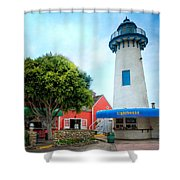 Lighthouse Seaside Cafe Shower Curtain