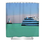 Lighthouse Ship Chicago Navy Pier Shower Curtain