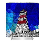 Lighthouse Stained Glass  Shower Curtain