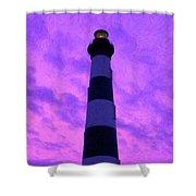 Lighthouse Sunset - Digital Art Shower Curtain