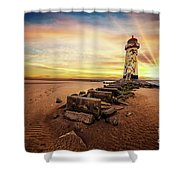 Lighthouse Sunset Wales Shower Curtain