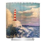 Lighthouse Under Lavender Sky Shower Curtain