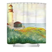 Lighthouse-watercolor Shower Curtain
