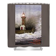 Lighthouse Weathering A Storm At Sea H A Shower Curtain