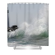 Lighthouse With Wave Shower Curtain