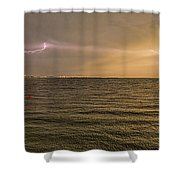 Lightning And Rainbow, Fort Myers Beach, Fl Shower Curtain