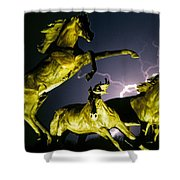 Lightning At Horse World Fine Art Print Shower Curtain