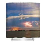 Lightning At Sunset With Star Trails Shower Curtain