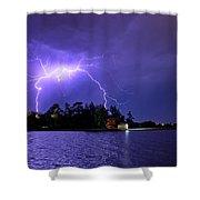 Lightning Bolt Cracks Over Lake Wendouree Shower Curtain