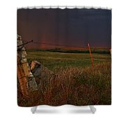 Lightning Bolt Over Post Rock Country, North Central, Kansas Shower Curtain