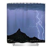 Lightning Bolts And Pinnacle Peak North Scottsdale Arizona Shower Curtain