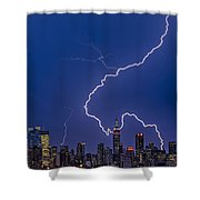 Lightning Bolts Over New York City Shower Curtain