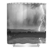 Lightning Bolts Striking Longs Peak Foothills 6bw  Shower Curtain