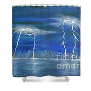 Lightning By The Lake Original Oil Painting Shower Curtain