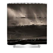 Lightning Cloud Burst Boulder County Colorado Im39 Sepia Shower Curtain