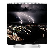 Lightning During A Thunderstorm On The Island Of Santorini, Greece Shower Curtain