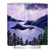 Lightning In Purple Clouds Shower Curtain
