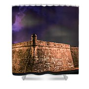 Lightning Over Castillo De San Marcos National Monument Shower Curtain