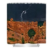 Lightning Over Natural Bridge Formation Bryce Canyon National Park Utah Shower Curtain by Dave Welling
