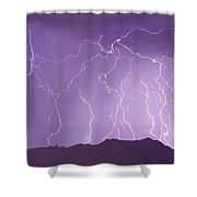 Lightning Over The Mountains Shower Curtain