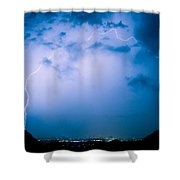 Lightning Rainbow Blues Shower Curtain