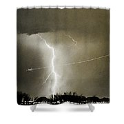 Lightning Storm City Lights Jet Airplane Fine Art Photography Shower Curtain