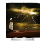 Lightning Storm Shower Curtain by Meirion Matthias