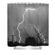 Lightning Storm On 17th Street Bw Fine Art Print Shower Curtain