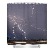 Lightning Storm  Power Lines Car Trails Shower Curtain