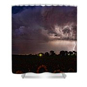 Lightning Stormy Weather Of Sunflowers Shower Curtain