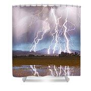 Lightning Striking Longs Peak Foothills 4 Shower Curtain