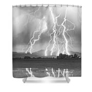 Lightning Striking Longs Peak Foothills 4cbw Shower Curtain