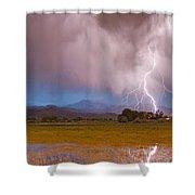 Lightning Striking Longs Peak Foothills 7c Shower Curtain