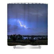 Lightning Striking Over Boulder Reservoir Shower Curtain