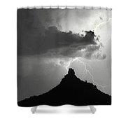 Lightning Striking Pinnacle Peak Arizona Shower Curtain
