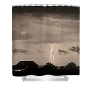 Lightning Thunderstorm July 12 2011 Strikes Over The City Sepia Shower Curtain