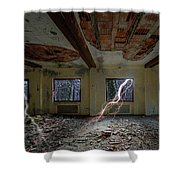 Lightnings On The Abandoned Hotel Of Liguria Mountains - Fulmini Su Hotel Abbandonato Sull'av Shower Curtain