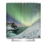 Lights Above Kvalvika Shower Curtain