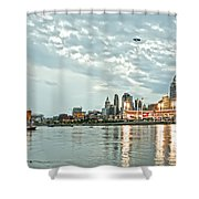 Lights Of Reds Game Shower Curtain